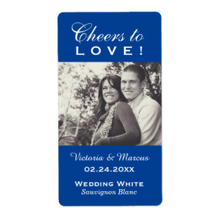 Royal Blue Wedding Photo Wine Bottle Favor Labels