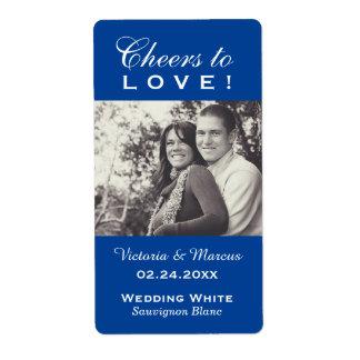 Royal Blue Wedding Photo Wine Bottle Favor Labels
