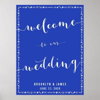 Royal Blue Wedding Reception Print Leaves Decor