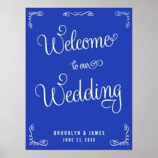 Royal Blue Wedding Reception Print With Swirls