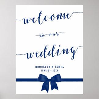 Royal Blue Wedding Reception Sign Print 18x24