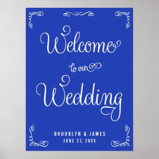Royal Blue Wedding Reception Sign With Swirls