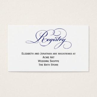 Royal Blue Wedding Registry Information Card