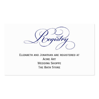 Royal Blue Wedding Registry Information Card Double-Sided Standard Business Cards (Pack Of 100)