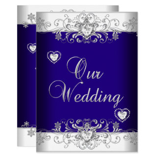 Royal Blue Wedding Silver Diamond Hearts 2 Card
