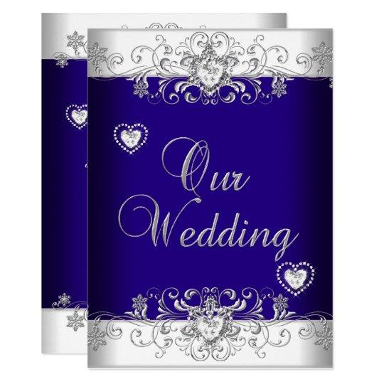 Royal Blue Wedding Silver Diamond Hearts 2a Card Zazzle Com