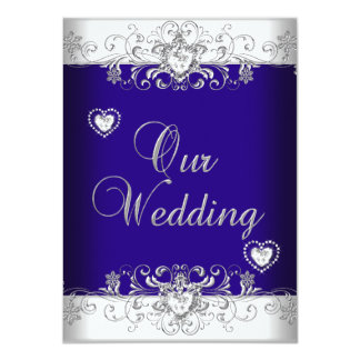 Royal Blue Wedding Silver Diamond Hearts 2a Personalized Invitations