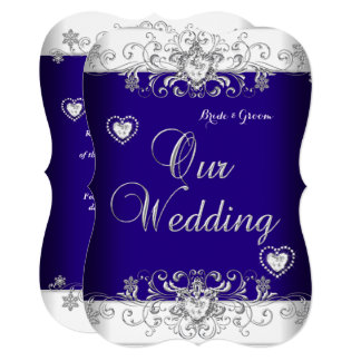 Royal Blue Wedding Silver Diamond Hearts b Card