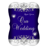 Royal Blue Wedding Silver Diamond Hearts b Custom Announcement