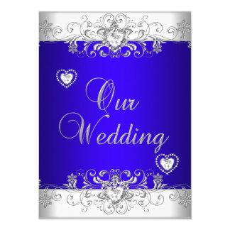 Royal blue Wedding Silver Diamond Hearts Card
