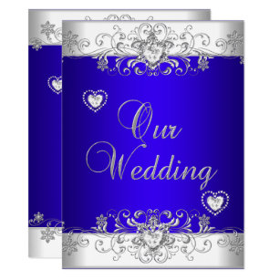 Silver And Royal Blue Wedding Invitations Zazzle