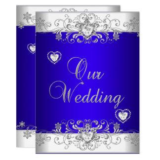 Royal blue Wedding Silver Diamond Hearts Invitation
