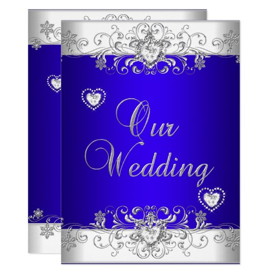 Royal blue Wedding Silver Diamond Hearts Invitation ...