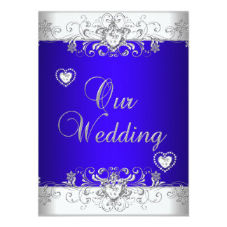 Royal blue Wedding Silver White Diamond Hearts Card