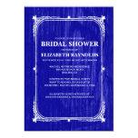 Royal Blue Western Barn Wood Bridal Shower Invites