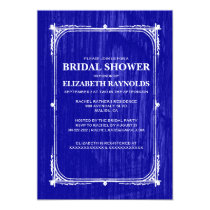 Royal Blue Western Barn Wood Bridal Shower Invites