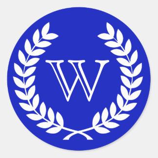 Royal Blue Wheat Laurel Wreath Monogram Env Seals Sticker