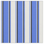 [ Thumbnail: Royal Blue, White, and Black Colored Lines Fabric ]