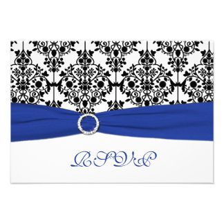 Royal Blue White Black Damask Reply Card Personalized Invitations