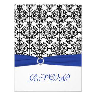 Royal Blue White Black Damask Reply Card Announcement