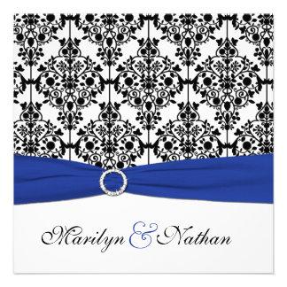Royal Blue White Black Damask Wedding Invitation
