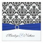 Royal Blue, White, Black Damask Wedding Invitation