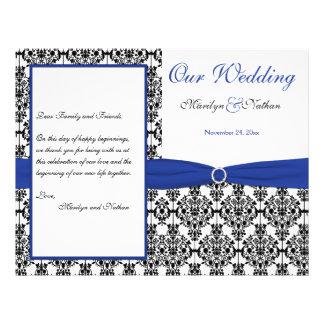 Royal Blue, White, Black Damask Wedding Program Personalized Flyer