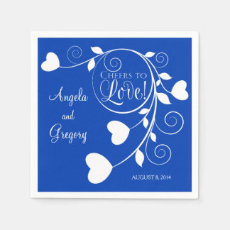 Royal Blue White Cheers to Love Heart Wedding Napkin