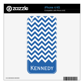 Royal Blue White Chevron Pattern Decal For iPhone 4