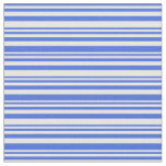 [ Thumbnail: Royal Blue & White Colored Lined Pattern Fabric ]