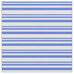 [ Thumbnail: Royal Blue & White Colored Lines Fabric ]