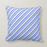 [ Thumbnail: Royal Blue & White Colored Lines Throw Pillow ]