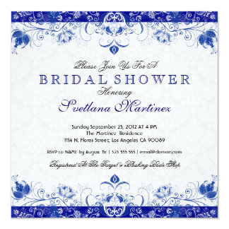 Royal Blue & White Damask Bridal Shower Invitation