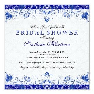 Royal Blue & White Damask Bridal Shower Invitation