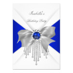 Royal Blue White Diamond Pearl Birthday Party 5x7 Paper Invitation Card