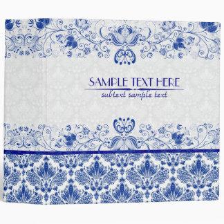 Royal Blue & White Elegant Vintage Floral Damask Binder
