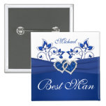 Royal Blue, White Floral Best Man Pin