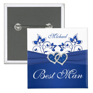 Royal Blue, White Floral Best Man Pin