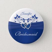 Royal Blue, White Floral Bridesmaid Pin