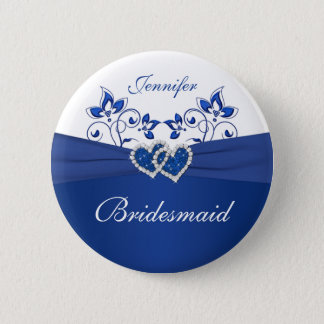Royal Blue, White Floral Bridesmaid Pin