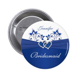 Royal Blue White Floral Bridesmaid Pin