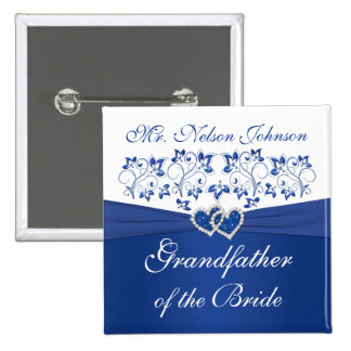 Royal Blue White Floral Grandfather of the Bride 2 Inch Square Button