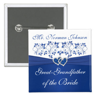 Royal Blue White Floral Grandfather of the Bride Pinback Button