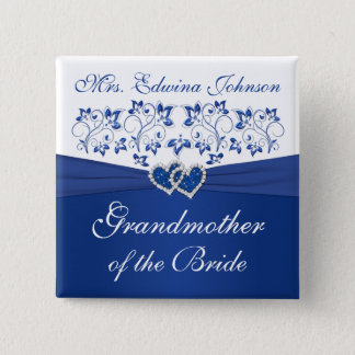 Royal Blue White Floral Grandmother of the Bride Button