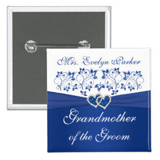 Royal Blue White Floral Grandmother of the Groom 2 Inch Square Button