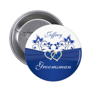 Royal Blue, White Floral Groomsman Pin