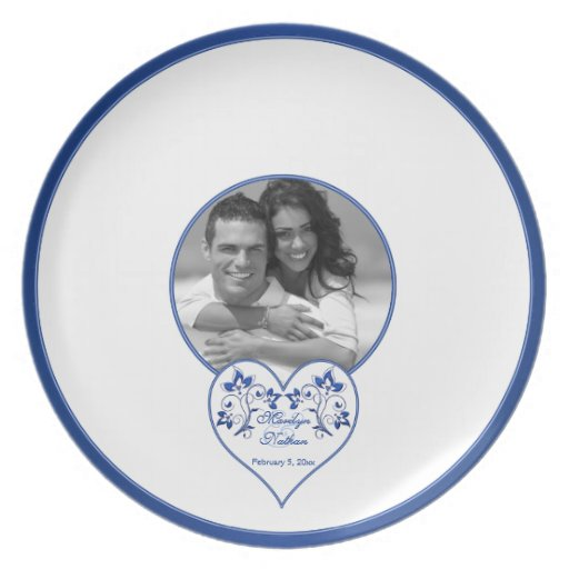 Royal Blue, White Floral Heart Guest Signing Plate