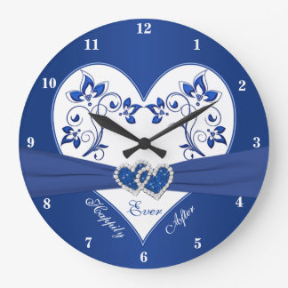 Royal Blue, White Floral Heart Happily Ever After Large Clock