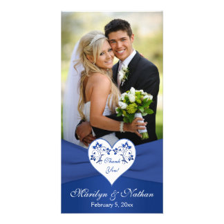 Royal Blue, White Floral Heart Wedding Photo Card