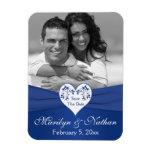 Royal Blue White Floral Heart Wedding Photo Magnet